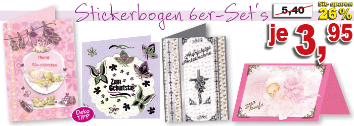 Stickerbogen 6-er Sets Preis-Hit